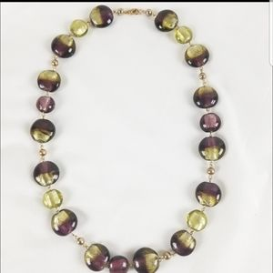 Gold-toned Foiled Glass Beads Necklace